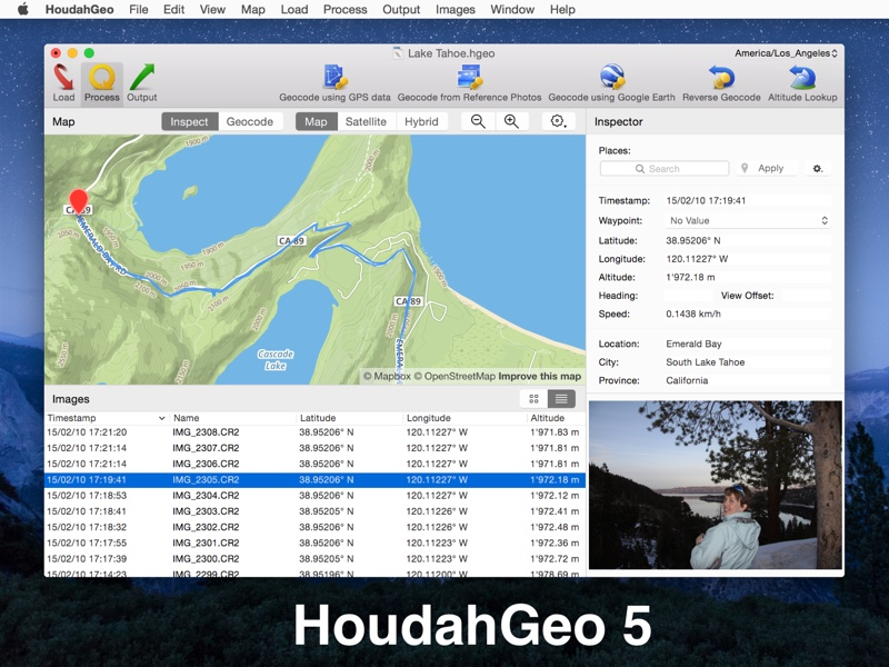 HoudahGeo screenshot: photo, geocoding, geophoto, mac, osx, Lion, Mountain Lion, Mavericks, iphoto, aperture, lightroom, gps, gpx, nmea, exif, xmp, iptc, flickr, locr, gps4cam